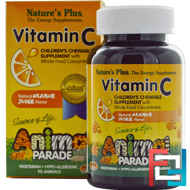 Source of Life, Animal Parade, Vitamin C, Children's Chewable Supplement, Natural Orange Juice Flavor, Nature's Plus, 90 Animals