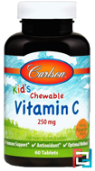 Kids, Chewable Vitamin C, Tangerine Flavor, Carlson Labs, 60 Tablets