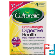 Extra Strength, Digestive Health, Daily Probiotic Formula, Culturelle, 20 Once Daily Veggie Caps