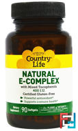 Natural E-Complex, with Mixed Tocopherols, Country Life, 400 IU, 90 Softgels