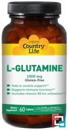 L-Glutamine, Country Life, 1000 mg, 60 Tablets
