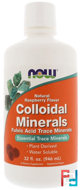 Colloidal Minerals, Natural Raspberry Flavor, Now Foods, 32 fl oz (946 ml)