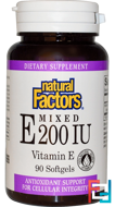 Mixed E, Natural Factors, 200 IU, 90 Softgels