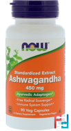 Ashwagandha, Now Foods, 450 mg, 90 Veg Capsules