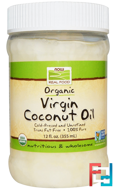 Real Food, Organic, Virgin Coconut Oil, Now Foods, 12 fl oz (355 ml)