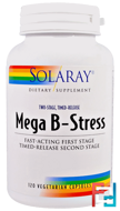 Mega B-Stress, Two-Stage, Timed-Release, Solaray, 120 Vegetarian Capsules