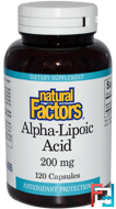 Alpha-Lipoic Acid, Natural Factors, 200 mg, 120 Capsules