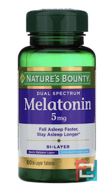 Melatonin, Dual Spectrum, Nature's Bounty, 5 mg, 60 Bi-Layer Tablets