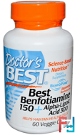 Best Benfotiamine 150 + Alpha-Lipoic Acid 300, Doctor's Best, 60 Veggie Caps