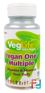 Vegan One Multiple, Iron Free, VegLife, 60 Tablets