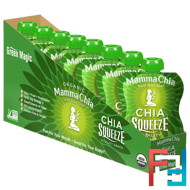 Chia Squeeze Vitality Snack, Green Magic, Mamma Chia, 8 Pouches, 3.5 oz (99 g) Each