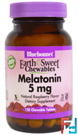 Earth Sweet Chewables, Melatonin, Bluebonnet Nutrition, Natural Raspberry Flavor, 5 mg, 120 Chewable Tablets