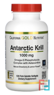 Antarctic Krill Oil, with Astaxanthin, RIMFROST, Natural Strawberry & Lemon Flavor, California Gold Nutrition, CGN, 1000 mg, 120 Fish Gelatin Softgels