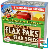 Organic Flax Paks, Milled Flax Seeds, 12 Packs, Carrington Farms, 4 oz, 12 g