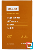 Protein Bars, Peanut Butter, RXBAR, 12 Bars, 1.83 oz (52 g) Each