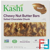 Chewy Nut Butter Bars, Salted Chocolate Chunk, Kashi, 5 Bars, 1.23 oz (35 g) Each