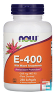 Natural E-400 With Mixed Tocopherols, Now Foods, 250 Softgels