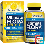 Extra Care, Ultimate Flora Priobiotic, Renew Life, 50 Billion Live Cultures, 60 Vegetable Capsules