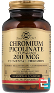 Chromium Picolinate, Solgar, 200 mcg, 180 Vegetable Capsules