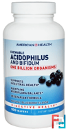 Chewable Acidophilus and Bifidum, Natural Blueberry Flavor, American Health, 100 Wafers