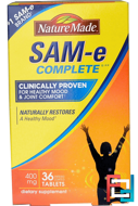 Sam- E (S-Adenosyl-L-Methionine) Complete, Nature Made, 400 mg, 36 Tablets