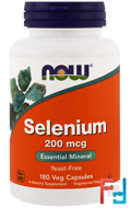 Selenium, Now Foods, 200 mcg, 180 Veggie Caps