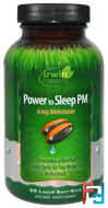 Power to Sleep PM, 6 mg Melatonin, Irwin Naturals, 60 Liquid Soft-Gels