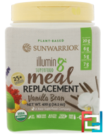 Illumin8, Plant-Based Organic Superfood Meal Replacement, Vanilla Bean, Sunwarrior, 14.1 oz (400 g)