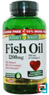 Fish Oil, 1200 mg, Nature's Bounty, 200 Rapid Release Softgels