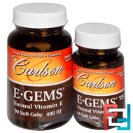 E-Gems, Natural Vitamin E, 400 IU, 2 Bottles, Carlson Labs, 90 Softgels + 44 Soft Gels