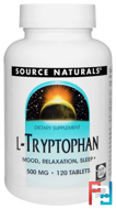 L-Tryptophan, Source Naturals, 500 mg, 120 Tablets