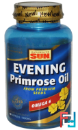 Health From The Sun, Evening Primrose Oil, Omega-6, 1300 mg, 60 Softgels