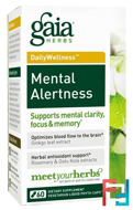 DailyWellness, Mental Alertness, Gaia Herbs, 60 Vegetarian Liquid Phyto-Caps