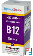 Methylcobalamin B12, 5000 mcg, Superior Source, 60 MicroLingual Instant Dissolve Tablets