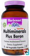 Multiminerals Plus Boron, Iron-Free, Bluebonnet Nutrition, 180 Veggie Caps
