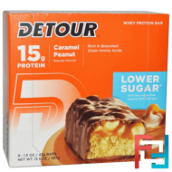 Whey Protein Bar, Caramel Peanut, Detour, 9 Bars, 1.5 oz (43 g) Each