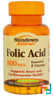 Folic Acid, 800 mcg, Sundown Naturals, 100 Tablets