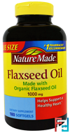 Flaxseed Oil, Nature Made, 1000 mg, 180 Softgels