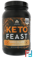 Keto Feast, Ketogenic Balanced Shake & Meal Replacement, Chocolate, Dr. Axe / Ancient Nutrition, 25.2 oz (715 g)