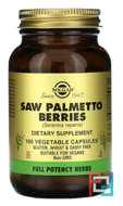 Saw Palmetto Berries, Solgar, 100 Vegetable Capsules