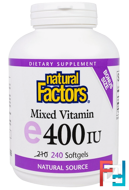 Mixed E, 400 IU, Natural Factors, 240 Softgels