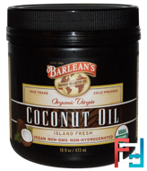 Organic Virgin Coconut Oil, Barlean's, 16 fl oz, 473 ml