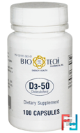 D3-50, Cholecalciferol, Bio Tech Pharmacal, Inc, 100 Capsules