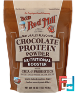 Chocolate Protein Powder, Nutritional Booster with Chia & Probiotics, Bob's Red Mill, 16 oz (453 g)