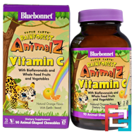 Super Earth, Rainforest Animalz, Vitamin C, Natural Orange Flavor, Bluebonnet Nutrition, 90 Chewables