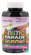 Animal Parade Gummies, Children's Chewable, Source of Life, Nature's Plus, Cherry, Orange & Grape, 75 Animal-Shaped Gummies