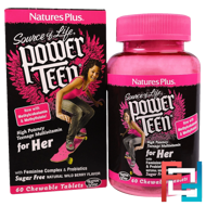 Source of Life, Power Teen, For Her, Natural Wild Berry Flavor, Nature's Plus, 60 Chewable Tablets