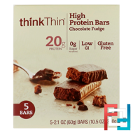 High Protein Bars, Chocolate Fudge, ThinkThin, 5 Bars, 2.1 oz (60 g) Each