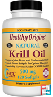 Krill Oil, Natural Vanilla Flavor, Healthy Origins, 500 mg, 120 Softgels