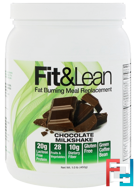 Fat Burning Meal Replacement, Chocolate Milkshake, Fit & Lean, 1.0 lb (450 g)